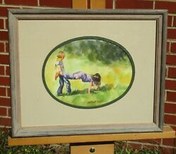 Lucelle Raad Signed Vintage Watercolor, Children Playing Wheelbarrow