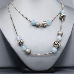 David Yurman Elements 925 Silver And Gems Beaded Chain Necklace 41long