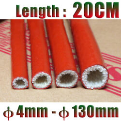 20cm Red Silicone Fiberglass Cable Sleeve Tube φ4-80mm High Temp Insulating Hose