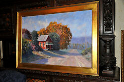 Fine Large Art Oil Painting By Well Listed Artist James Moore