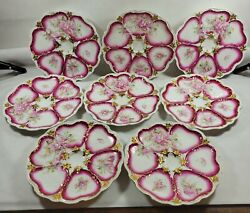 Antique 1900's Porcelain Oyster Plates Heart Shaped Wells Hand Painted Pink/gold