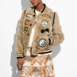 Coach Shearling Bomber Jacket W/ Patches In Beige Size 2