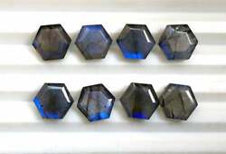 Natural Labradorite Hexagon Faceted Cut Loose Gemstone 16mm To 20mm Blue Fire