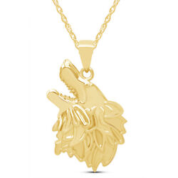 Mens Style Wolf Face Charm Pendant Necklace In 14k Yellow Gold