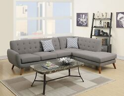 Living Room 2pc Sectional Home 3-seat Sofa Chaise Modern Grey Linen Fabric Wood