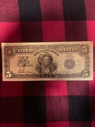 5 Indian Chief Head Silver Certificate .999 24k Gold Foil Novelty