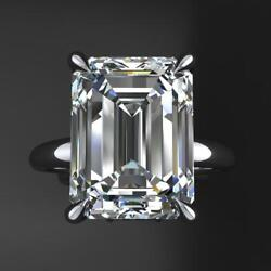 6.00 Ct Emerald White Moissanite Solitaire Engagement Ring 14k White Gold Plated