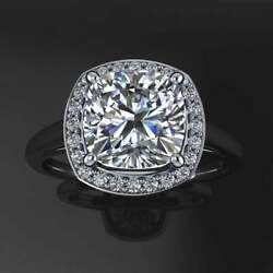 Halo Solitaire Engagement Ring 14k White Gold Over 2 Ct Cushion White Moissanite