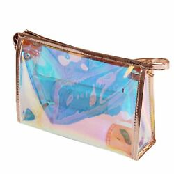 Makeup Bag Iridescent Holographic Clear Cosmetic Bag Large Capacity Pouch Bag $9.99