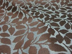 Crypton® Contemporary Modern Blue Brown Leaves Upholstery Fabric BTY