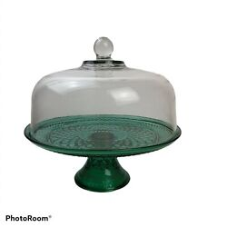 Vintage Beautiful Green Glass Cake Pie Pedestal Stand And Dome Cover 12x 5