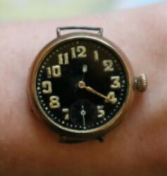 Antique Rolex Military Officer Trench Black Dial Wristwatch Gold Plated Rare