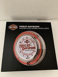 Harley Davidson Double Neon Red/white Wall Clock Automotive Sign