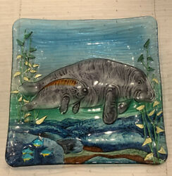 Manatee Mother And Calf Fused Art Glass 12 Square Plate Dish Coastal Tropical