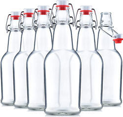 Heavy Duty Glass Swing Top Clear Brewing Bottles W/ Airtight Seal 16 Oz / 6 Pack