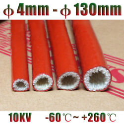 Red Silicone Fiberglass Fire Cable Sleeve Tube Andphi4-130mm High Temp Insulated Hose