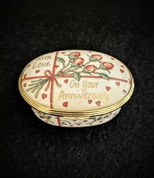 Halcyon Days Enamel Music Box England On Your Anniversary Plays Waltz When Wound