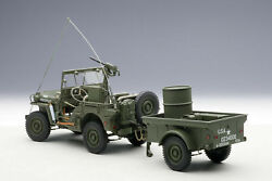 Autoart Jeep Willis Army Green Trailer And Accessories Included 1/18
