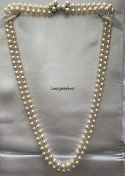 Vintage Saltwater Akoya Pearl Necklace 14k Solid Gold Clasp Exceptional Luster
