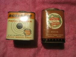 Unique Rifle Powder And Bullseye Cans Empty Tin With Label And Lids