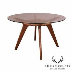 Adrian Pearsall Mid Century Modern Walnut Round Glass Top Dining Table
