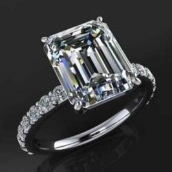 14k White Gold Plated 5.00 Ct Emerald Engagement Ring White Moissanite Solitaire