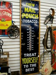 Vintage 1933 Mail Pouch 6 Foot Porcelain Thermometer Very Nice Gas Oil Soda C