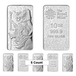 Lot Of 5 - 10 Oz Great Britain Una And The Lion Silver Bar - The Great Engravers