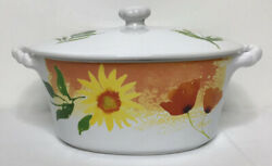 Lenox Sunflowers Poppies Sienna Covered Casserole Vegetable Bowl Dish Bakeware