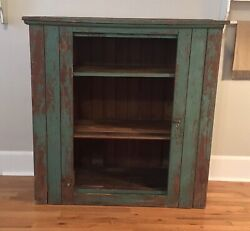 antique Primitive Rustic Pine Jelly Cupboard 1800s Chippy Green Paint Farmhouse
