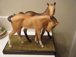 Beautiful Vintage Porcelain Cybis Horse Colts Darby And Joan W/ Base - Retired