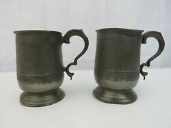 Pair Of Antique Pewter Pint Tankards With Monogram