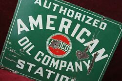 Antique Amoco American Oil Company Porcelain Sign Authentic 1930and039s Old Gas
