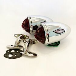 Chrome 1937 Ford Tail Lights With Custom Lens And S/s 90 Degree Stands -1 Pair
