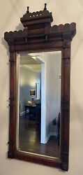Victorian Highly Carved Mahogany Wood Hanging Beveled Mirror W/ Gold Leaf Detail