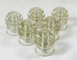 Six Vintage Armstrongand039s T.w. Cd-203 Clear Glass Insulators - Free Shipping
