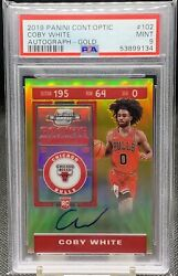 2019 Contenders Optic Coby White Rc Ticket Auto 102 Gold 7/10 Psa 9 Bulls