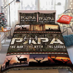 Papa Deer Hunting The Man The Myth The Legend Bedding Set Covers Best Gift