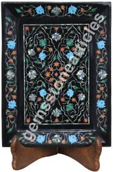 12x9 Black Serving Food Tray Carnelian Inlaid Marquetry Floral Veterans Gift