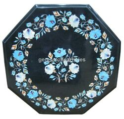 18x18 Black Marble Octagon Inlaid Side Coffee Table Top Christmas Arts Gifts