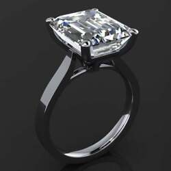 7.00 Ct Emerald White Moissanite 14k White Gold Plated Solitaire Engagement Ring