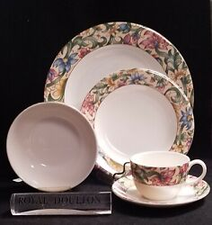 Royal Doulton Jacobean Dinner, Salad, Cereal Bowl, Cup And Saucer