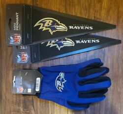 Nfl Baltimore Ravens Adult Embroidered Sport Utility Gloves And 2 Mini Pennants