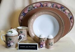 Fitz And Floyd Tuscany Platter, Serving Bowl, Sugar And Creamer, Salt And Pepper