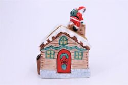 Limoges France Peint Main Christmas Santa Claus On Roof W/ Gifts Trinket Box
