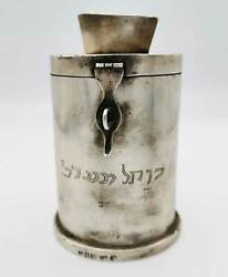 Rare Jewish Silver Donation Charity Can From Hospital