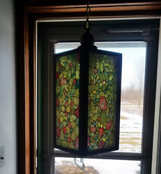 Mid Century Modern Cracked Glass Mosaic Swag Hanging Light Vintage Rock Candy