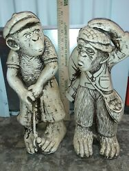 🌺🌺2 Vintage Mexican Golfing Monkey And Caddy Statues/figurines