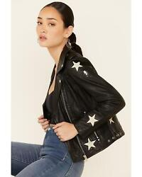 Mauritius Women's Cathleen Scattered Star Leather Jacket - Cathleen-blk