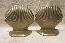Vintage Metal Clam Shell Figure Bookends Retro Art Deco Brass 6 Tall 6 Wide